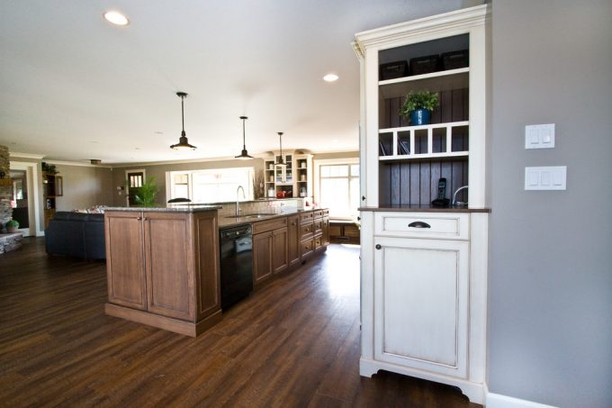 Traditional Kitchen With Hardwood Flooring Plus China Cabinet And Custom Corbels Also Custom Furniture Kick With Phone Charging Station And Drawers Plus Finished Interior