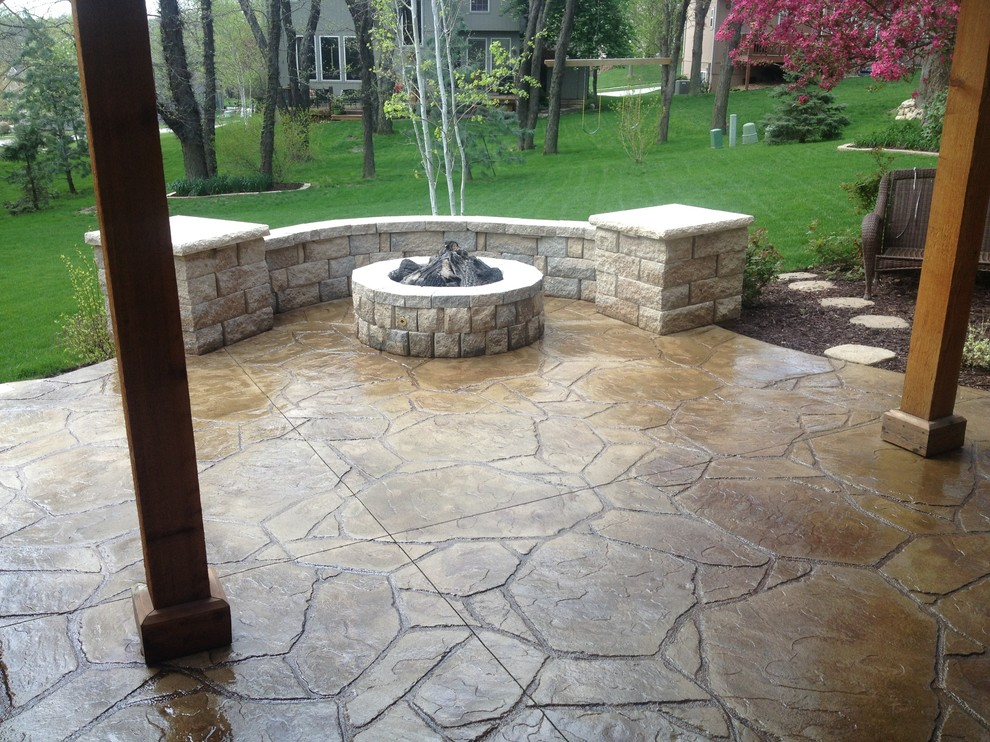 Traditional Patio Plus Columns Also Seat Wall And Fire Pit With Strack Stone Also Flagstone Plus Landscaping With Outdoor Living And Stamped Concrete Patio Plus Grass Also Stone Step