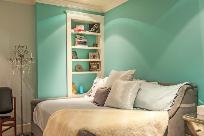 Transitional Bedroom With Bedroom Built Ins And Guest Room Plus Open Shelves With Tiffany Blue Paint For Small Bedroom Paint Ideas Plus Sleep Sofa And Bed Pillows Also Crystal Floor Lamp