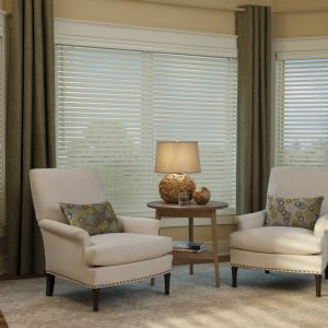 Transitional Casual With Window Fashion Plus Hunter Douglas Blinds And Premium Grade Also Upholstered Armchairs With Unique Table Lamp And Round Side Table On Area Rug