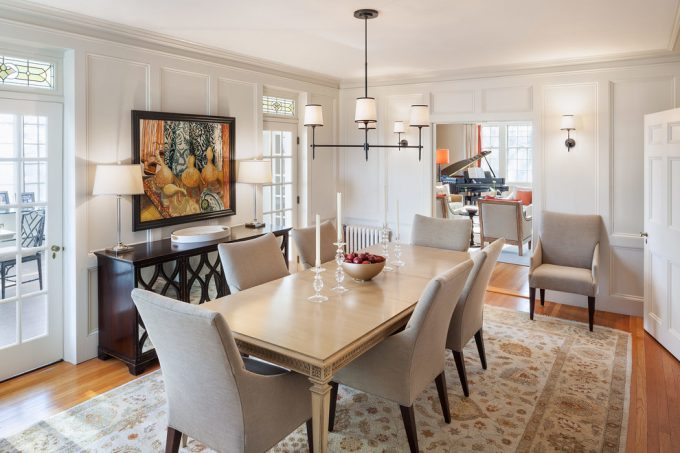 Transitional Dining Room With Persian Rug And Buffet Plus Chandelier Also Dining Room Table With Upholstered Chairs On Hardwood Floors Plus Framed Wall Art Buffet Lamps