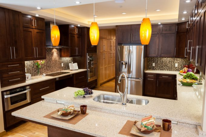 Transitional Kitchen With Cove Lighting Plus Maple Cabinets And Pendant Lights Also Recessed Lighting With Teak Wood Flooring And Tile Backsplash Plus Under Cabinet Lighting And Under Cabinet Microwave