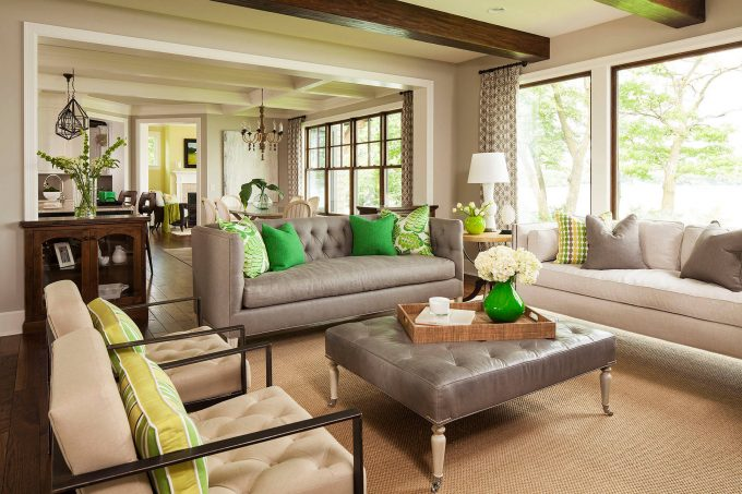 Transitional Living Room With Sisal Carpet Plus Leather Ottoman Coffee Table And Decorative Pillows For Couches Also Tufted Armchairs With Best Interior Paint And Coffered Ceiling