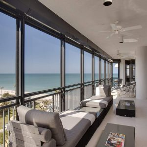 Tropical Porch In Balcony Plus Ceiling Fan And Chaise Lounge Alos Coffee Table For Enclosed Porch With Modern Daybed And Glass Door Also Outdoor Cushion Plus View And Railings