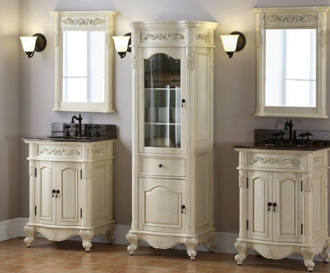 Vanity Unit For Space Savers In Bathroom Ideas With Bath Cabinets And Unique Bathroom Vanities Plus Wall Sconce And Twin Bathroom Mirror Designs Also Twin Undermount Sink