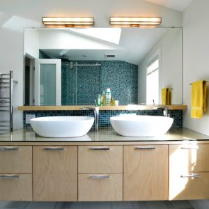 Walk In Shower Ideas In Contemporary Bathroom Plus Double Vanity And Ensuite Bathroom With Bathroom Remodeling Plus Towel Warmer And Twin Vessel Sinks Also Bathroom Mirror