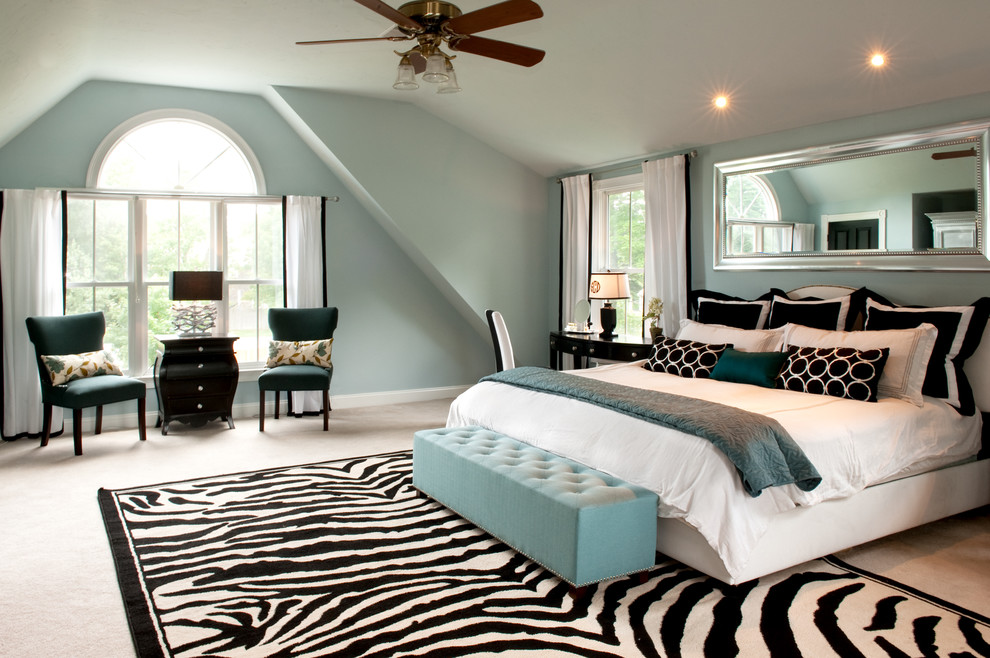 Home Interior Decor with Stunning Zebra Rug: Zebra Rug With Modern Ceiling Fan And Recessed Lighting Also Arched Window Plus Light Blue Bench And Rectangular Mirror Also White Baseboards For Modern Bedroom Design