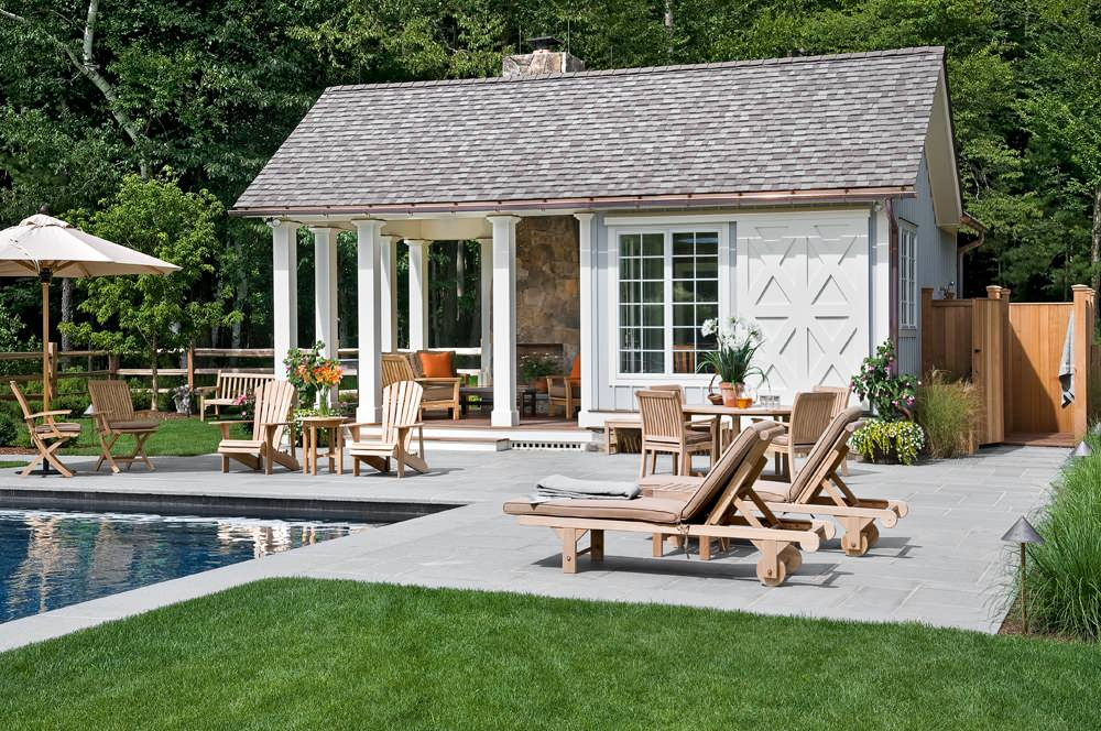Inspiring Pool House Designs in Your Home: Adirondack Chairs For Changing Area Plus Colorful Pillows In Country Home With Pool House Designs For Guest House Plus Landscaping With Outdoor Design Also Outdoor Furniture