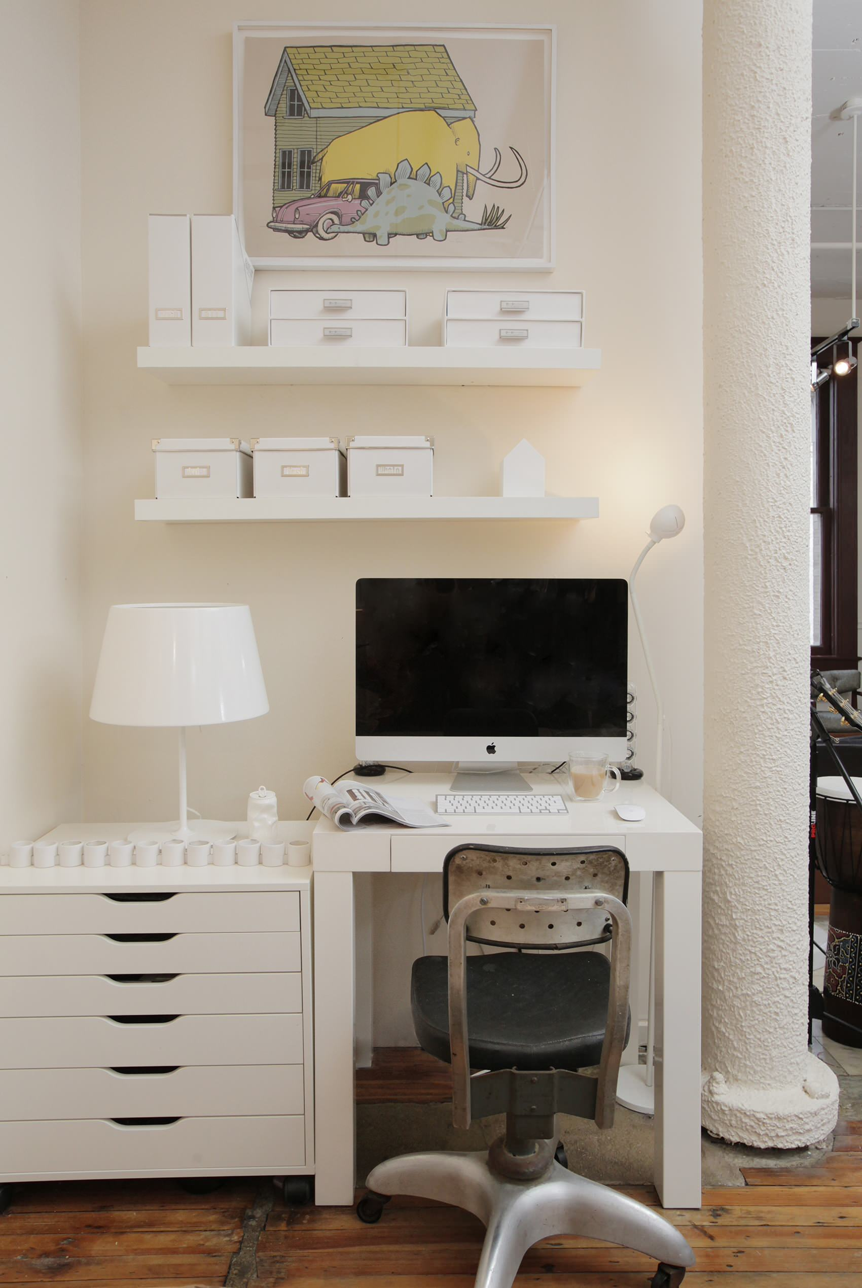 Antique Chair And Desk Nook With Desk Space Plus Open Storage Also Storage Boxes With Rustic Wood Floor Plus Small Desk And White Cabinet Also White Floating Shelves For White Magazine File