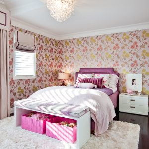 Bedroom Bench And Floral Wallpaper In Girls Room Plus Modern Glass Chandelier With Pink Baskets And Storage Boxes Also Pink Bedroom On Shag Rug And Upholstered Headboard