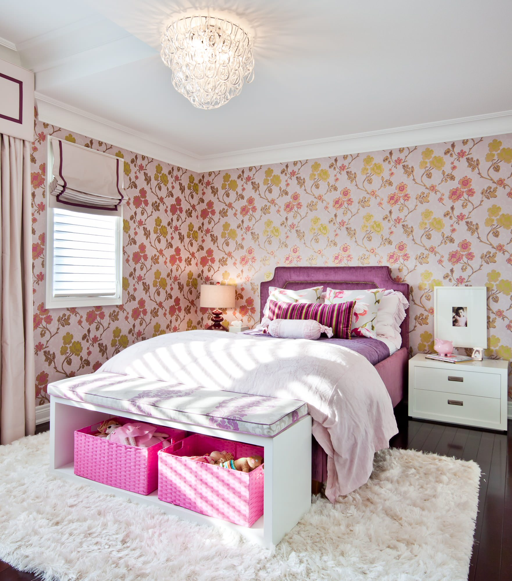 Interesting Room with Interior Decor plus Storage Boxes Ideas: Bedroom Bench And Floral Wallpaper In Girls Room Plus Modern Glass Chandelier With Pink Baskets And Storage Boxes Also Pink Bedroom On Shag Rug And Upholstered Headboard