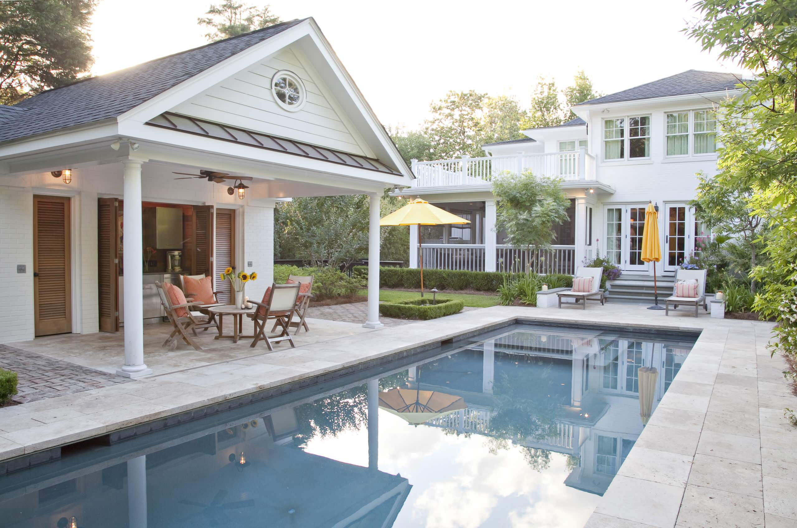 Architecture: Traditional Pool With Pool House Designs Also ...
