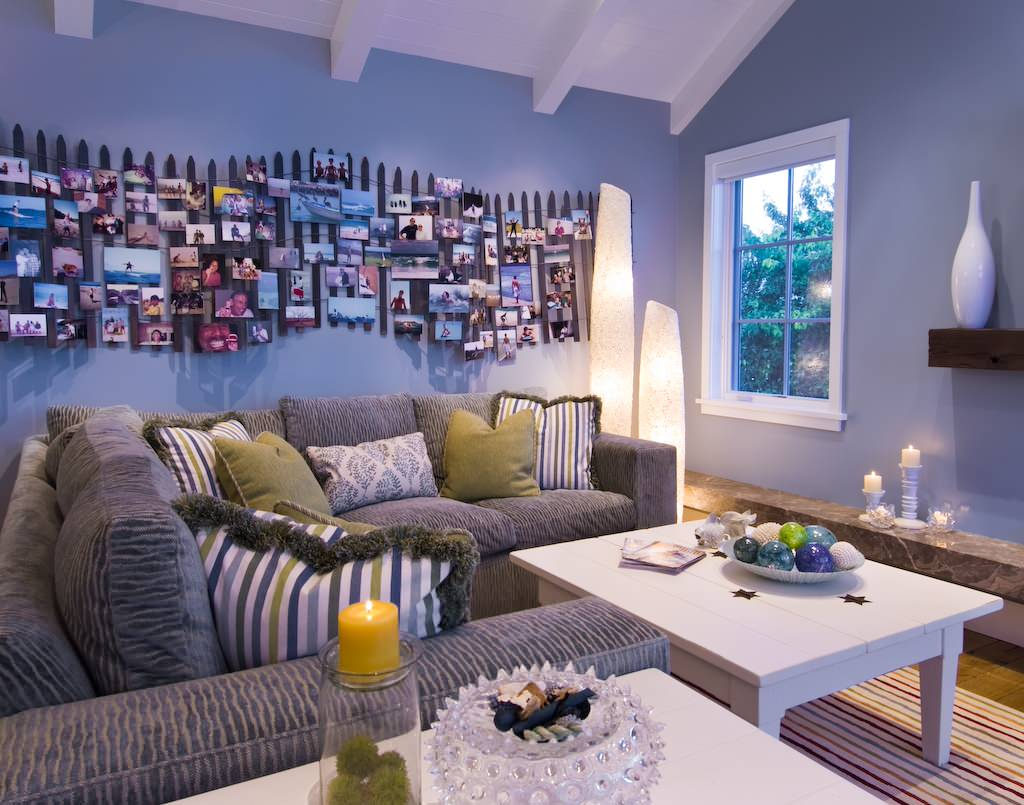 Blue Walls Plus Photo Collage Ideas For Family Room With Corner Sofa And Decorative Pillows For Couches Plus Furniture And Accessories Also White Coffee Table On Striped Carpet