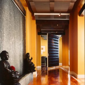 Ceiling Treatment With Contemporary Asian Design For Asian Hall Plus Front Door And Indoor Fountains Also Sculpture With Option Wood Flooring And Ceiling Lighting On Wood Ceiling