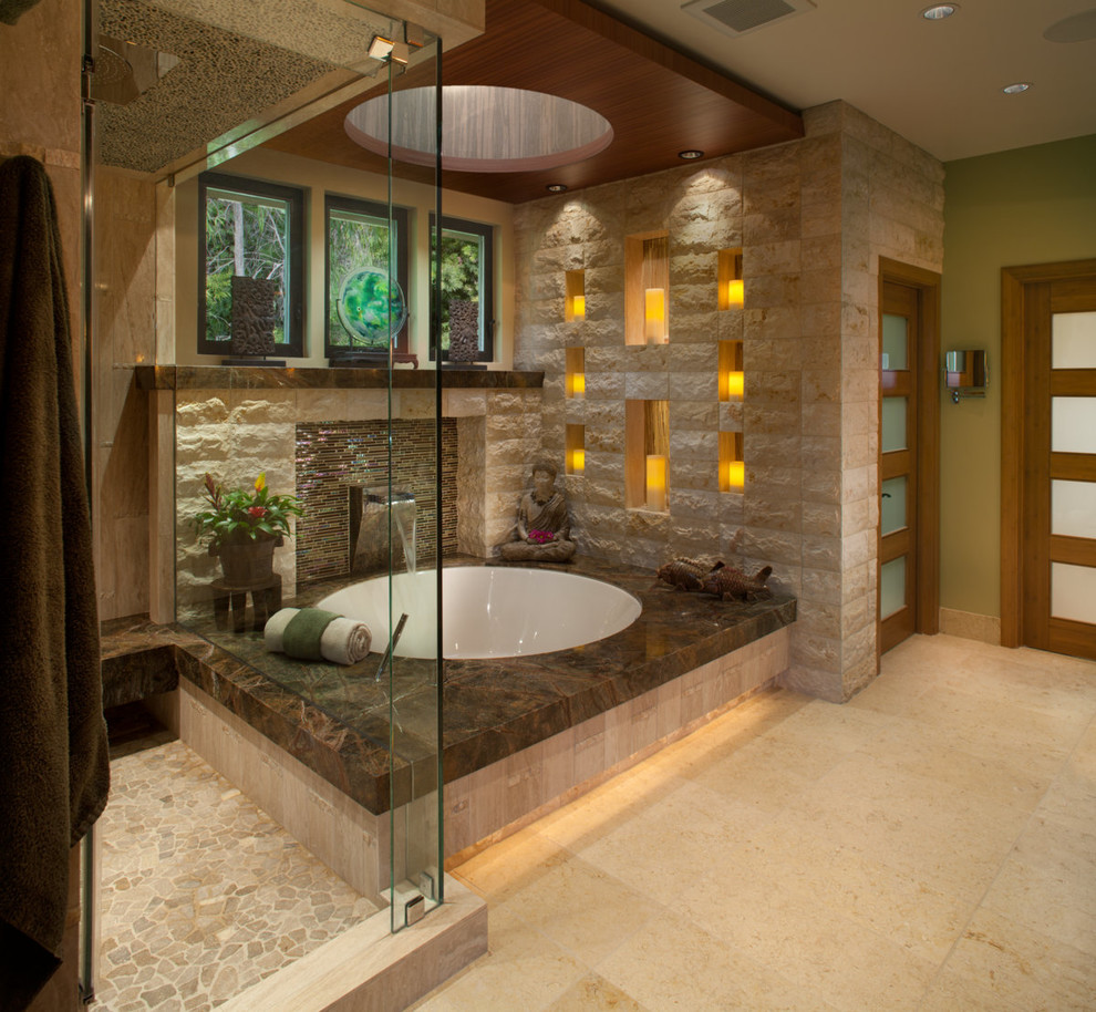 Contemporary Bathroom Plus Cove Lighting And Indoor Fountains With Frosted Glass Door Also Glass Shower Plus Round Tub And Sconce Also Skylight With Walk In Shower Ideas