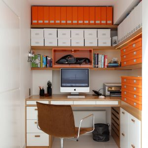 Contemporary Home Office With Built In Corner Desk Also Narrow Office Space Plus Organisation Office And Storage Boxes For Paper Storage With Recessed Lights And Swivel Desk Chair