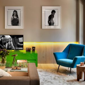 Contemporary Living Room Plus Armchair And Bright Colors Also Brown Sofa With Clear Glass Coffee Tables Plus Framed Black And White Photos Also Green Media Cabinet With Led Lighting