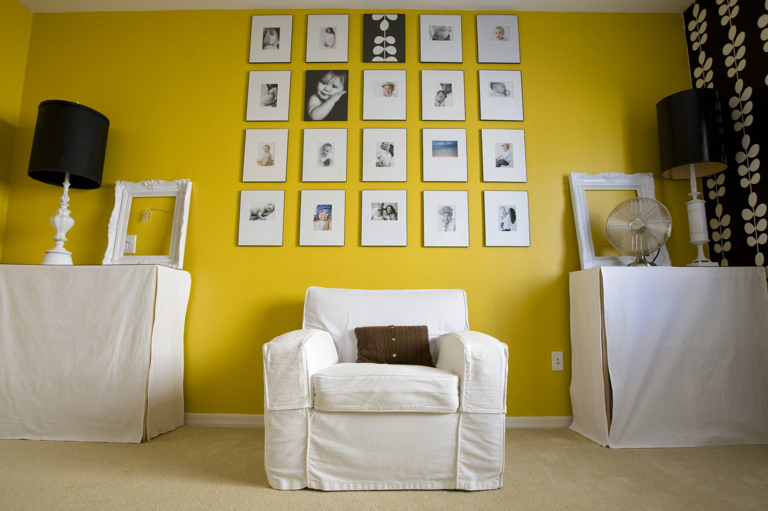Photo Collage Ideas for Decorating Room: Drum Lamp Shades And End Tables With Photo Collage Ideas For Gallery Wall In Home Office Plus Slipcovers Armchair Also Table Fan With Wallcoverings And Yellow Walls