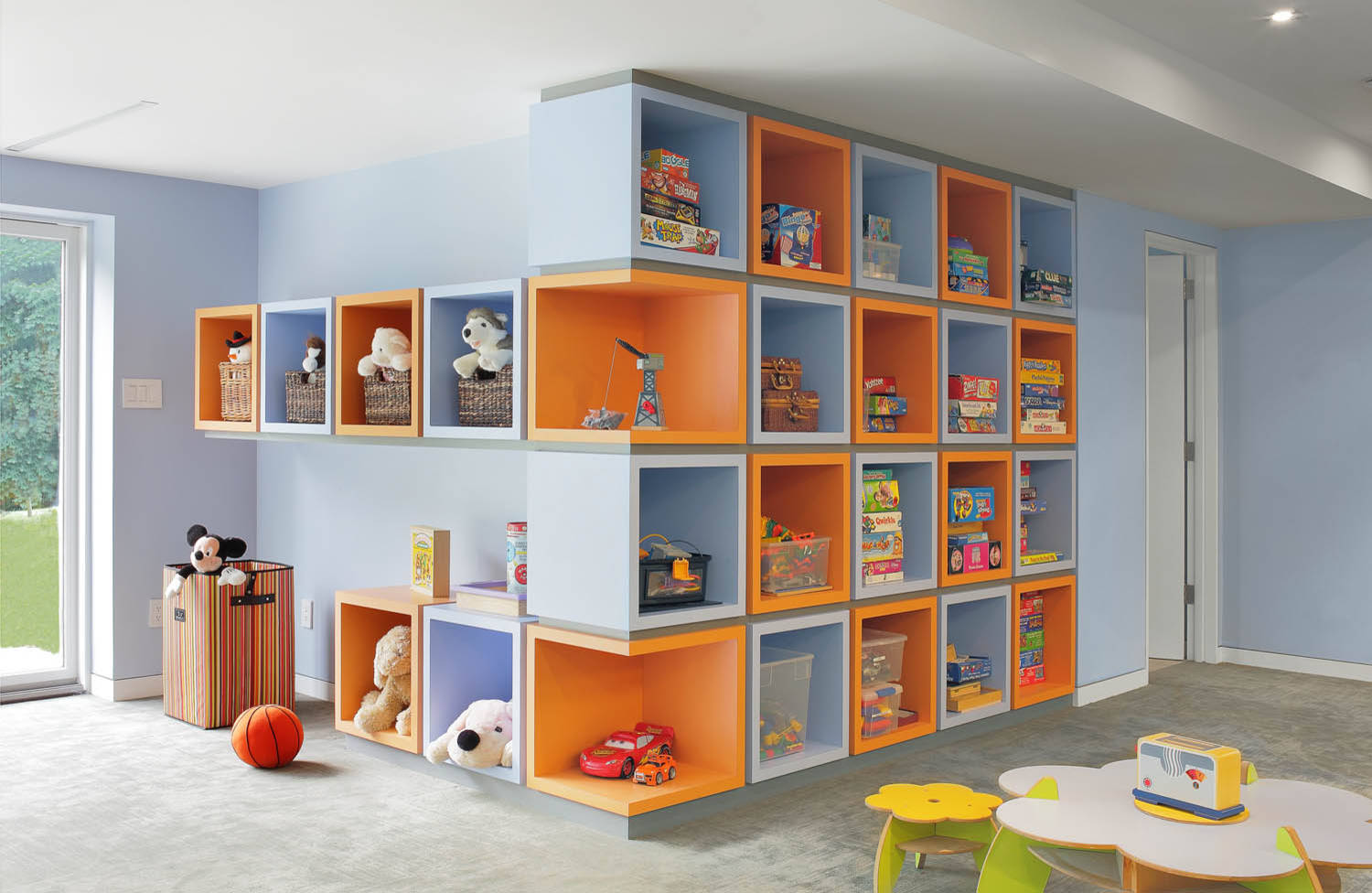Ideas For A Kids Room With Storage Boxes For Toy Storage Shelf In Toy Room Storage With Nexus Storage Cube And Wall Cabinets Storage Plus Bright Colored And Recessed Lighting
