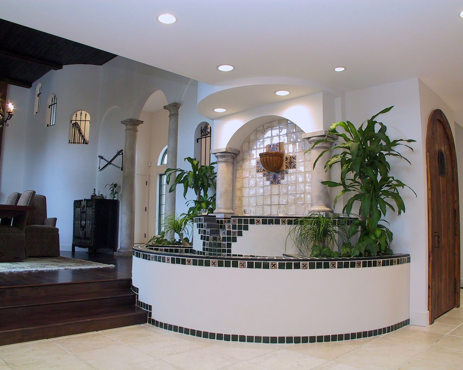Interesting Ceiling Lighting And Columns Plus Foyer Also Indoor Fountains With House Plants Plus Recessed Lighting Also Stair Step To Deck For Dining Room Plus Foyer Chandelier